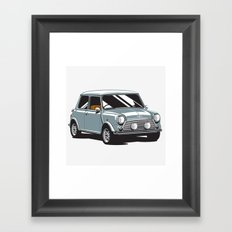 Mini Cooper Car - Gray Framed Art Print