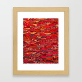V35 Red Traditional Moroccan Artwork Pattern Framed Art Print