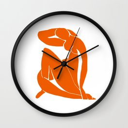 Orange Nude Girl Wall Clock