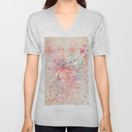 Dayton map Ohio painting Unisex V-Neck