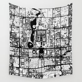 Beijing city map black and white Wall Tapestry