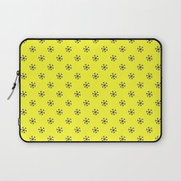 Navy Blue on Electric Yellow Snowflakes Laptop Sleeve
