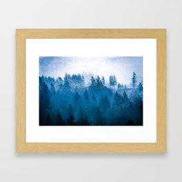 Blue Winter Day Foggy Trees Framed Art Print