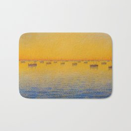 Classical Masterpiece 'Setting Sun and Boats' by Paul Signac Bath Mat