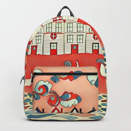 Chickens in the seaside Backpack