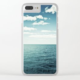 """Ocean Sky Photography, Sea Horizon Photographs, Blue Calming Seasape Print, """"The Spell of the Sea"""" Clear iPhone Case"""