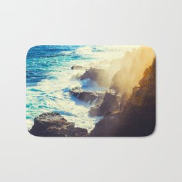 Coastal Ocean Waters Beach Waves Blue Water Yellow Sunlight Bath Mat