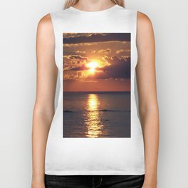 Flaming sky over Sea - Nature at its best Biker Tank