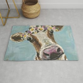 Flower Crown Cow Art, Cute Cow With Flower Crown Rug