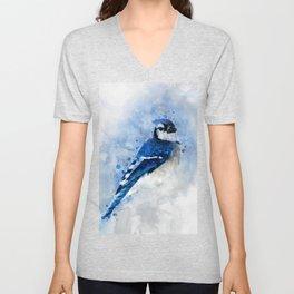 Watercolour blue jay bird Unisex V-Neck