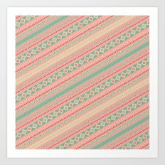 Retro Turquoise Pink Abstract Andes Aztec Pattern Art Print