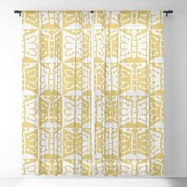 Mid Century Modern Butterfly 771 Mustard Yellow Sheer Curtain
