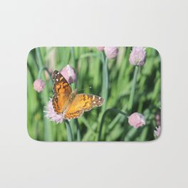 Orange Butterfly on Chives Bath Mat