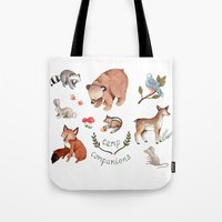 camp Tote Bags featuring Camp Companions by Brooke Weeber