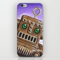 steam punk iPhone & iPod Skins featuring i.Friend: Steam Punk Robot by CHRIS MASON