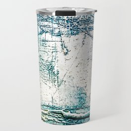 Subtle Blue Textured Acrylic Painting Travel Mug