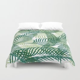 Green Palm Leaves Duvet Cover