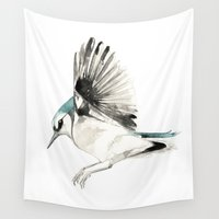 jay fleck Wall Tapestries featuring Blue Jay by Cat Graff