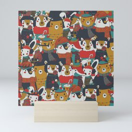 Funky Retro Christmas Animals Mini Art Print