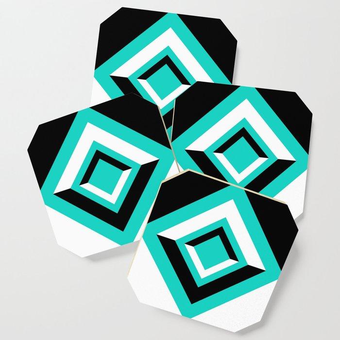 Teal Black and White Diamond Shapes Digital Illustration - Artwork Coaster
