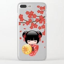 Japanese Red Sakura Kokeshi Doll Clear iPhone Case