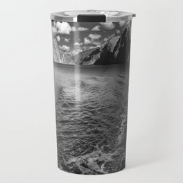 A boat ride in the morning at Milford Sound in black and white Travel Mug