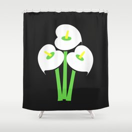 Calla Lily Bouquet (Black) Shower Curtain