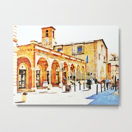 Teramo: foreshortening with arcade and church Metal Print
