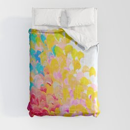 CREATION IN COLOR - Vibrant Bright Bold Colorful Abstract Painting Cheerful Fun Ocean Autumn Waves Comforters