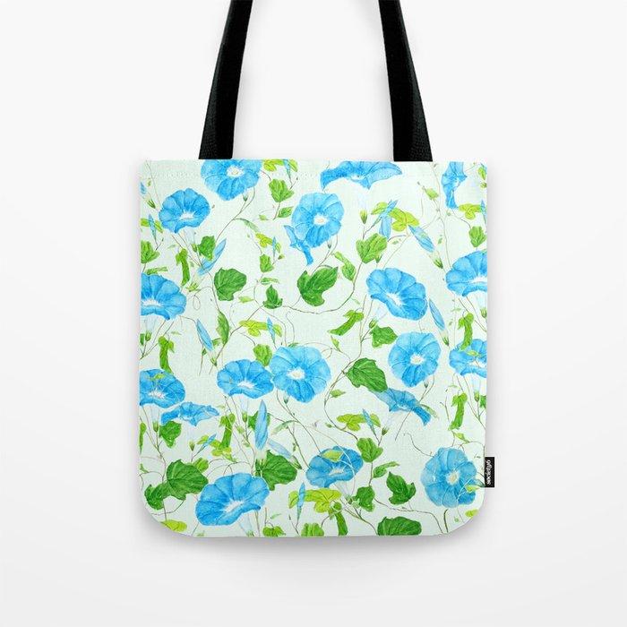 blue morning glory pattern Tote Bag