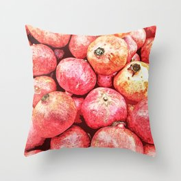 Lots of red pomegranate fruits Throw Pillow