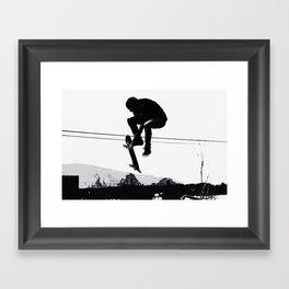 Flying High Skateboarder Framed Art Print