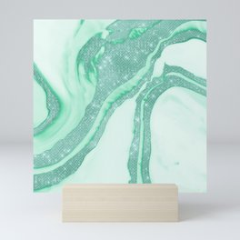 Teal Mint Green Sparkly Sequin Smoky Marble Mini Art Print