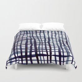 Watercolor doodle gingham - indigo Duvet Cover