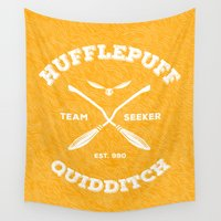 hufflepuff Wall Tapestries featuring Hufflepuff Quidditch by Sharayah Mitchell