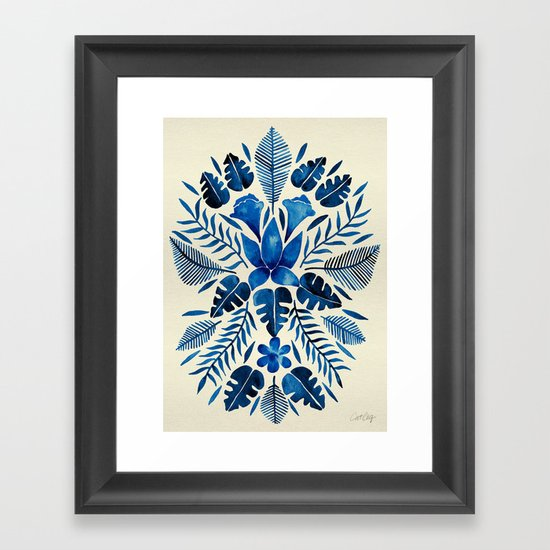 Tropical Symmetry – Navy Framed Art Print
