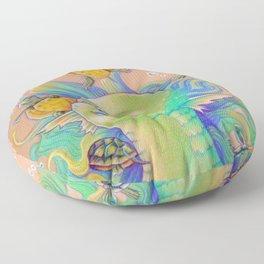 Mermaid With Baby Turtles Drawing Floor Pillow