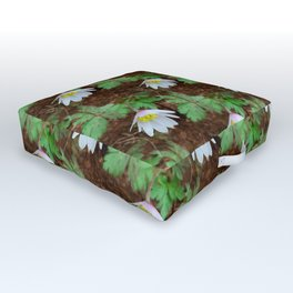Diagonal rows of nodding flowers Outdoor Floor Cushion