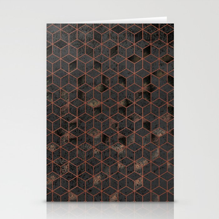Copper Gold and Black Hexagons Geometric Pattern Stationery Cards