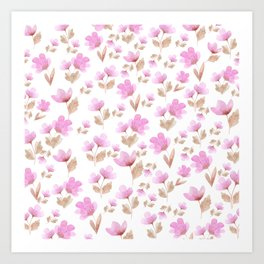 Girly blush pink brown watercolor hand painted floral pattern Art Print