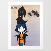 coraline Art Prints featuring Coraline by GroovyRoo