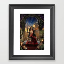 XI. Justice Tarot Card Illustration (Color) Framed Art Print