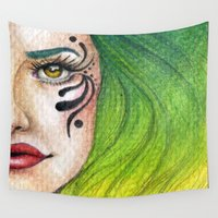fierce Wall Tapestries featuring Fierce  by StaceyPatinoArt