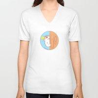 fat V-neck T-shirts featuring Fat Fat Peeks by Fat Fat