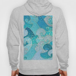 Mermaid Waves And Sea Faux Glitter - Sun Light Over The Ocean Hoody