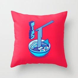 Japanese Ramen Isometric - Cyan Solid Throw Pillow