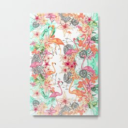 TROPICAL FlAmINGOS Metal Print