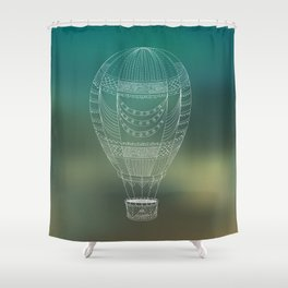 Hot air balloon line drawing Shower Curtain