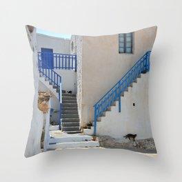 Greek Village 2 - Milos - Landscape and Rural Art Photography Throw Pillow