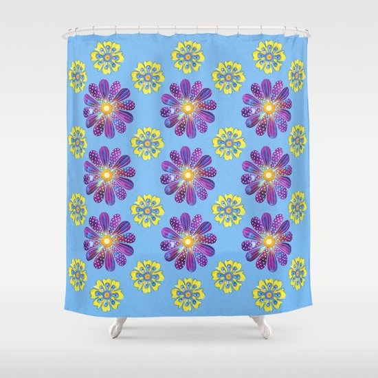 A Purple And Yellow Flower Pattern Shower Curtain By Shelley Ylst Art Society6